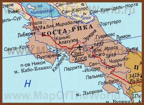 Карта Коста-Рики на русском языке