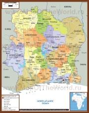 Подробная карта Кот-д'Ивуара