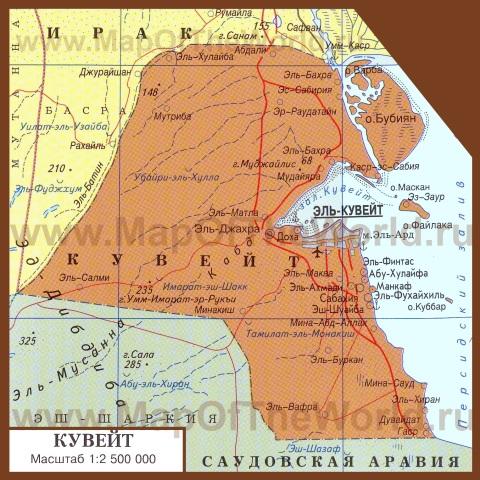 Карта Кувейта на русском языке