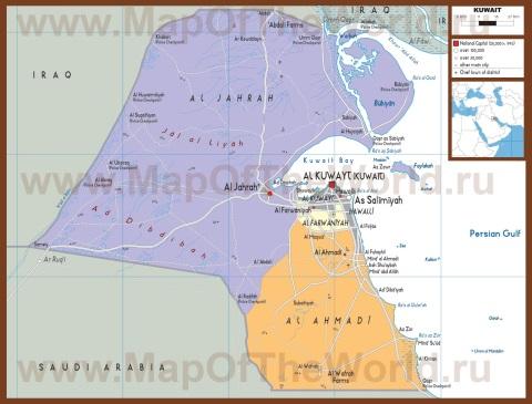 Подробная политическая карта Кувейта