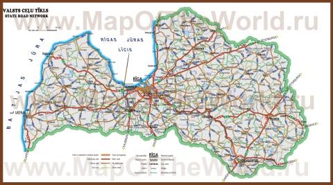 Автомобильная карта дорог Латвии