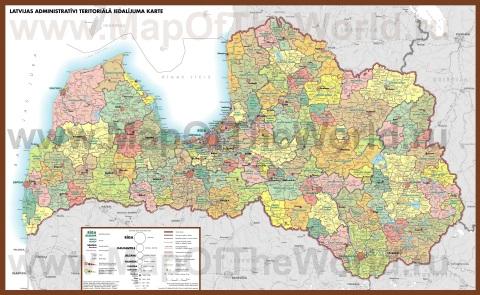 Подробная карта Латвии