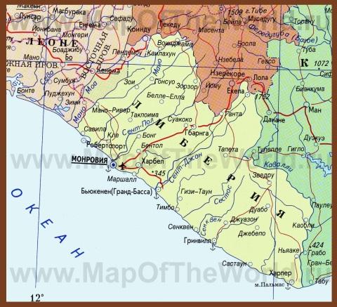 Карта Либерии на руссом языке