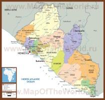 Подробная карта Либерии