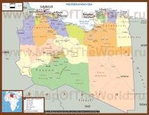 Подробная карта Ливии