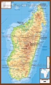 Физическая карта Мадагаскара
