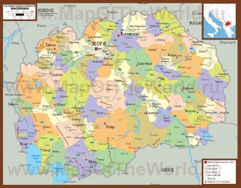 Подробная карта македонии