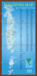 Подробная карта Мальдив с отелями