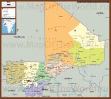 Подробная политическая карта мали
