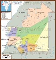 Подробная политическая карта Мавритании