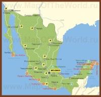 Карта курортов Мексики с достопримечательностями