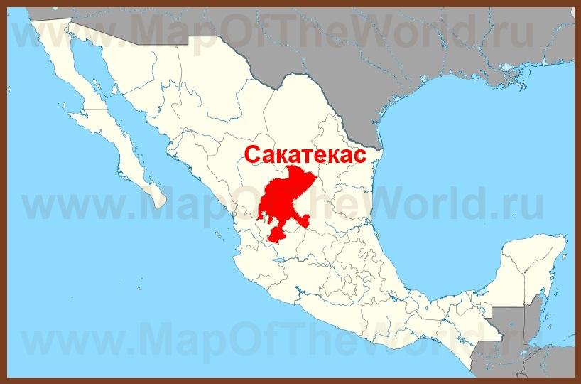 Сакатекас на карте мексики