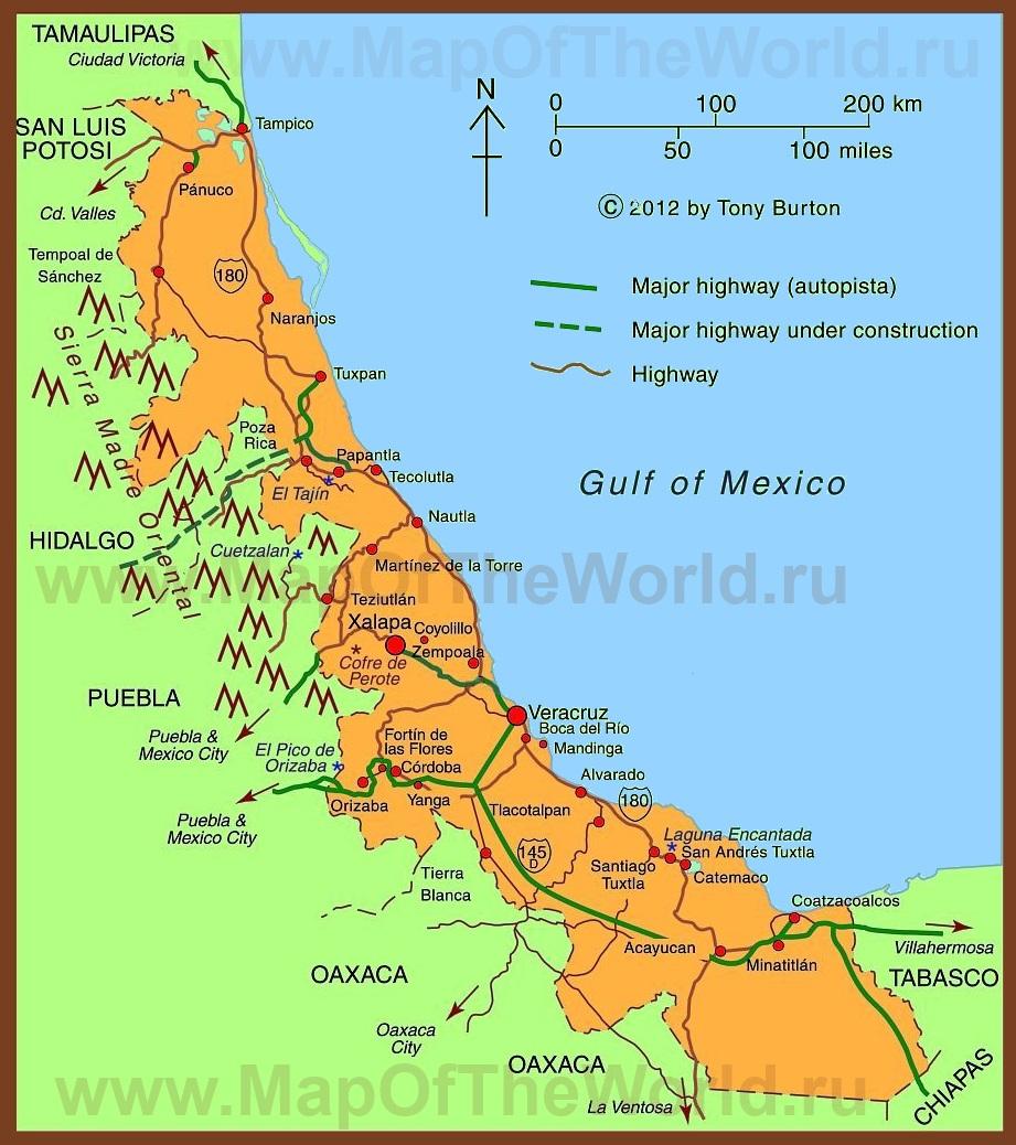 Подробная карта штата веракрус