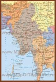 Карта Мьянмы на русском языке