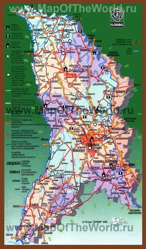 Автомобильная карта дорог Молдовы