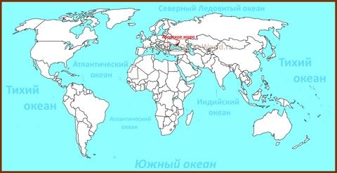 Азовское море на карте мира