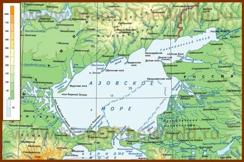 Физическая карта Азовского моря
