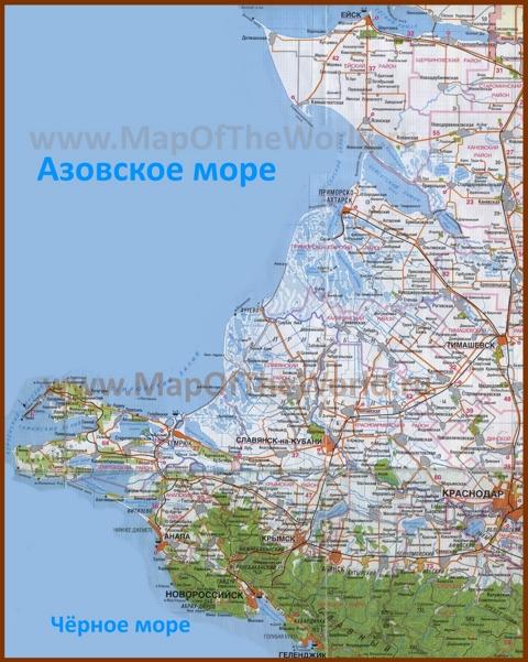 Подробная карта побережья Азовского моря с городами и поселками