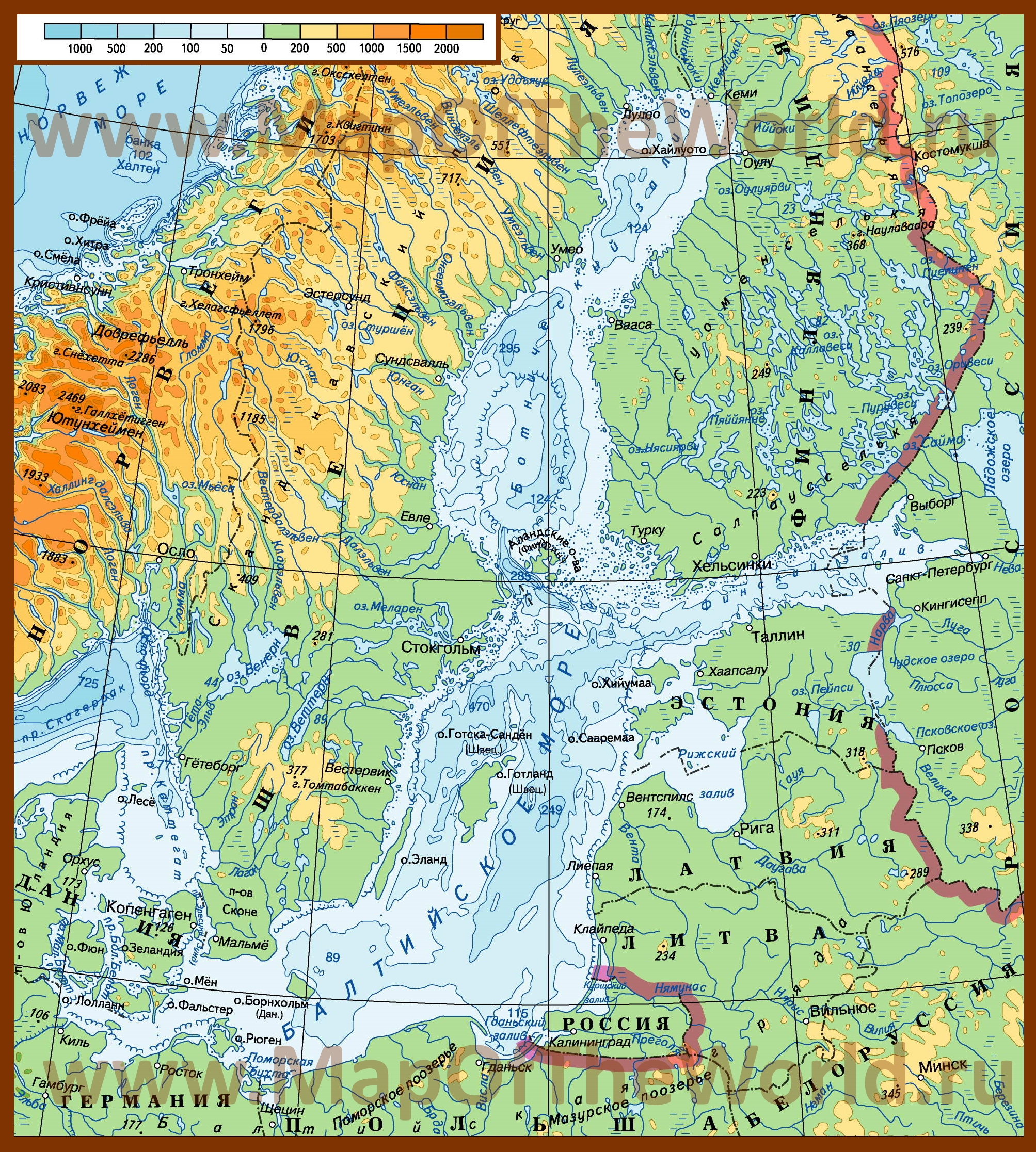Карта глубин Балтийского моря Кавказ На Карте России