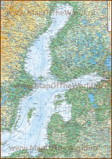Подробная физическая карта Балтийского моря
