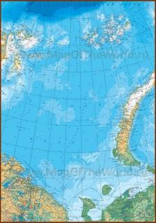 Карта глубин Баренцева моря с островами