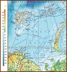 Подробная физическая карта Баренцева моря