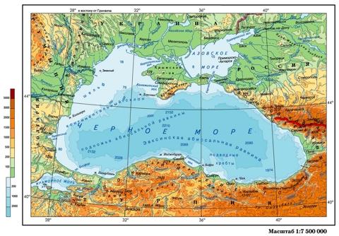 Физическая карта Черного моря с глубинами