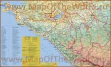 Карта краснодарского побережья Черного моря с городами и поселками
