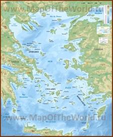 Физическая карта Эгейского моря