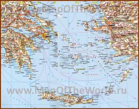Карта Эгейского моря с островами и курортами