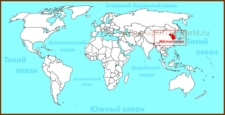 Жёлтое море на карте мира