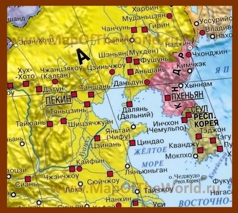 Где на карте находится жёлтое море