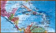 Подробная карта Карибского моря на русском языке