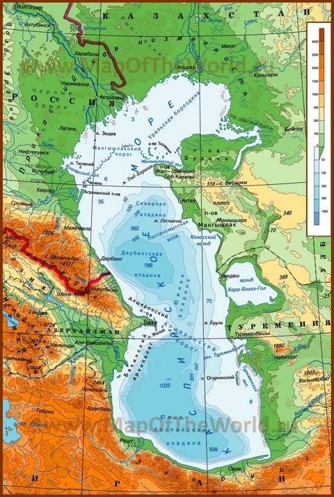 Карта глубин Каспийского моря
