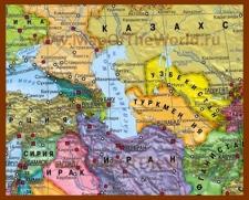 Карта Каспийского моря со странами