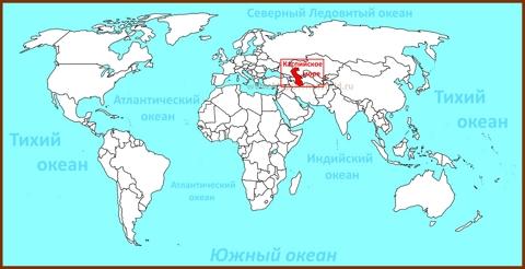 Каспийское море на карте мира