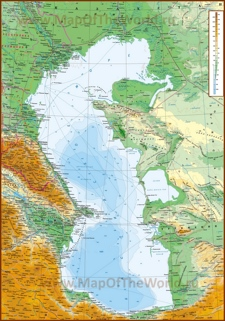 Подробная физическая карта Каспийского моря с городами