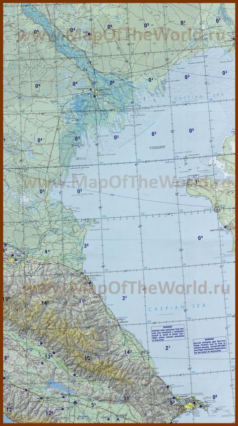 Топографическая карта Каспийского моря