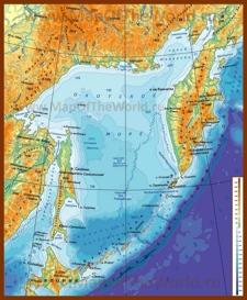 Физическая карта Охотского моря