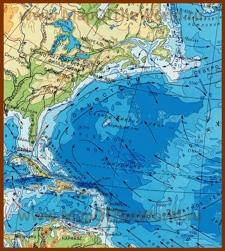 Физическая карта Саргассова моря с течениями