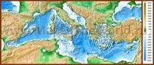 Физическая карта Средиземного моря