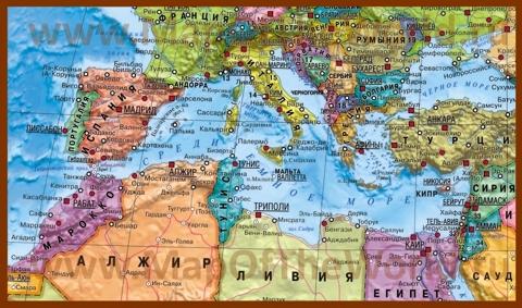 Карта Средиземного моря со странами на русском языке