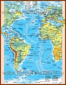 Физическая карта Атлантического океана с глубинами