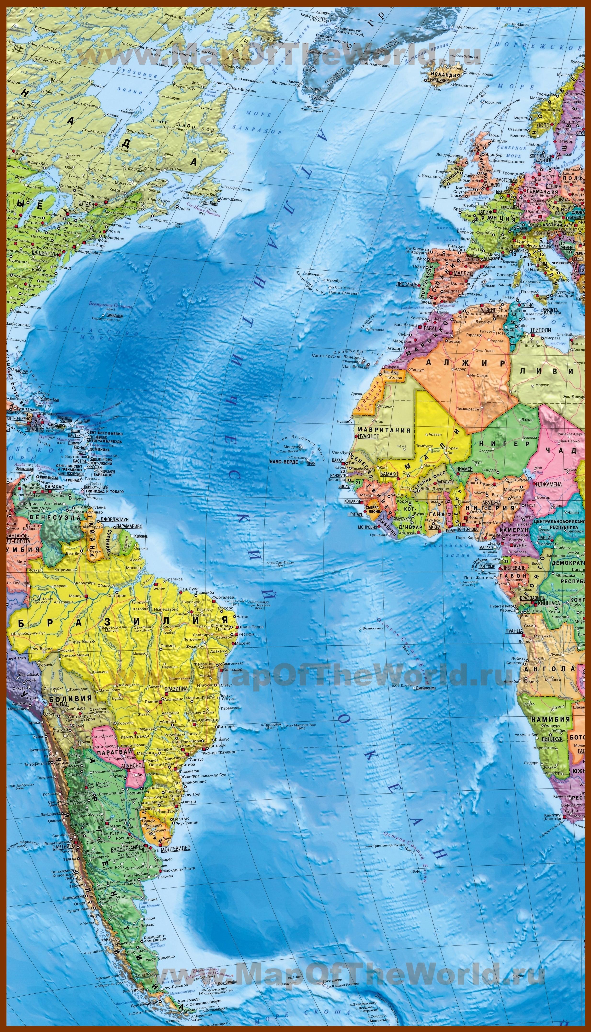 атлантический океан на карте россии фото