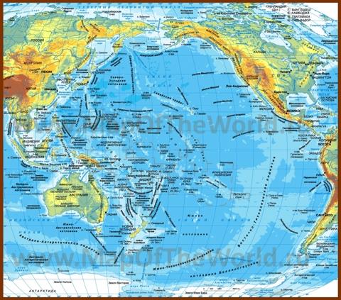 Физическая карта Тихого океана