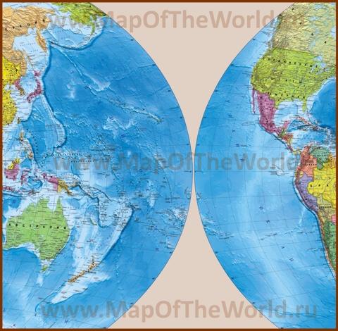 Подробная карта Тихого океана