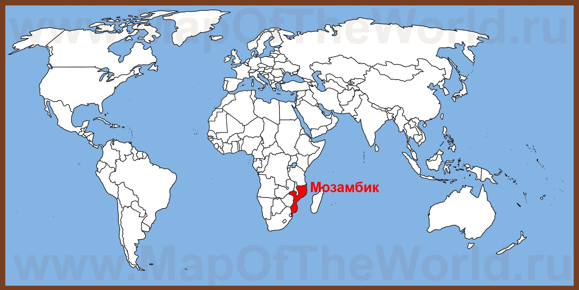 Мозамбик на карте мира