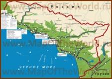 Карта побережья Абхазии с достопримечательностями  title=