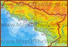 Подробная карта Абхазии с городами и поселками