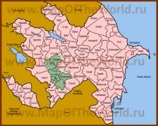 Нагорный Карабах на карте Азербайджана
